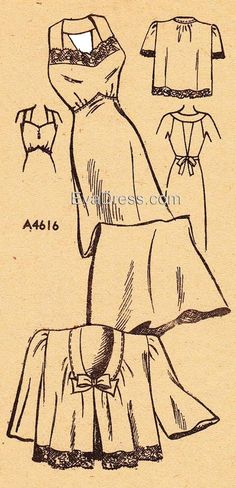 """NL40-4616; 1940 Nightgown & Jacket 14-piece hand-drafted pattern originally by Anne Adams. Size 14 fits 32"""" bust, 26"""" waist, 35"""" hip."""