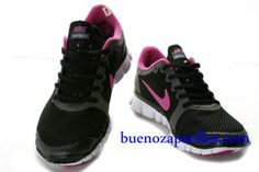 finest selection 04310 d2e74 Mujer Nike Free 3.0 V2 Zapatillas (color   vamp - negro , en el interior y  logotipo - rosa  sole - blanco)