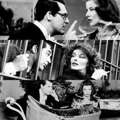 """Bringing up Baby - Katharine Hepburn and Cary Grant. """" Now it isn't that I don't like you, Susan, because, after all, in moments of quiet, I'm strangely drawn toward you, but - well, there haven't been any quiet moments. """""""