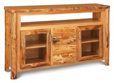 Amish Rustic Log TV Stand with Storage Love the look of your log furniture! Available in rustic aspen, pine or cedar wood. A cozy warm look for the living room.