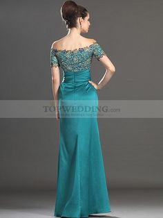 Off the Shoulder Lace Bodice Long Elastic Satin Evening Dress