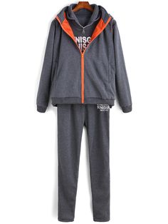 Grey Hooded Letters Print Two Pieces Top With Pant 20.67