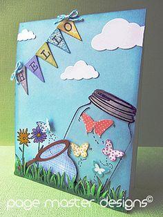 Butterfly jar card by skrappergirl, via Flickr