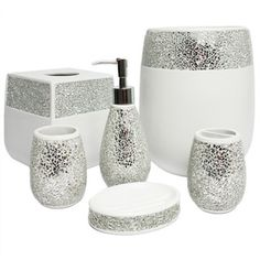 Silver Cracked Glass And Ivory Hand Crafted Bath Accessory Collection |  Overstock.com Shopping