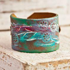 June Finds Leather Buckle Cuff Bracelet Wristband Distressed Primitive Rustic Jewelry Cuffs Eco Friendly