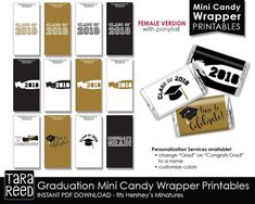 Graduation Candy Wrappers / Female Graduate / Girl Graduate / Printables / mini candy wrappers / candy wrap printable / graduation printable  This is available as a Male/Neutral silhouette or this female version with a ponytail :)
