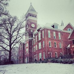 Snowy winter day at Tillman Hall (Clemson University)