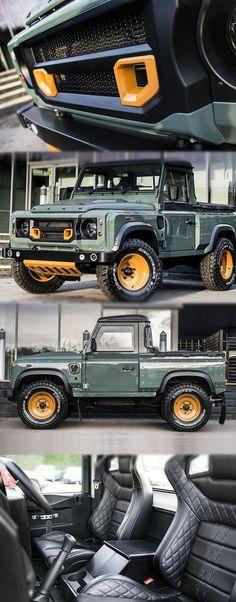 Kahn Design Customised Land Rover Defender Pick-Up For more deitail: - Land Rover Defender, Kahn Defender, Cool Trucks, Cool Cars, Kahn Design, Diesel, Pajero Sport, Offroader, Jeep Truck