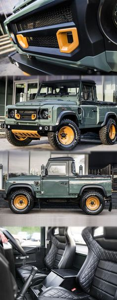 Kahn Design Customised Land Rover Defender Pick-Up For more deitail:https://mbgearboxes.wordpress.com/2016/03/10/kahn-design-customised-land-rover-defender-pick-up/