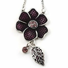 Purple Enamel Floral Drop Pendant (Silver Tone) Avalaya. $14.85. Gemstone: diamante. Material: enamel. Metal Finish: rhodium plated. Theme: floral, flower. Occasion: mothers day, cocktail party, casual wear