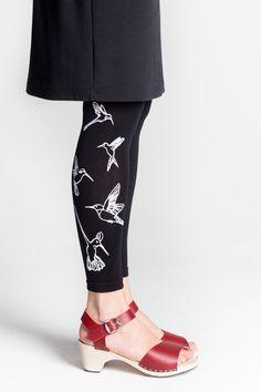 17463644bbcfe mary a.jalava 120 den footless tights HUMMINGBIRD/black/white Footless  Tights,