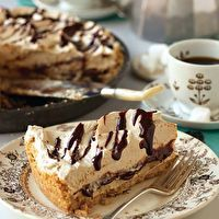 Peanut Butter Freezer Pie with Chocolate and Bananas by Crystal Cook