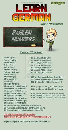 Learn German - Numbers / Zahlen by TaNa-Jo on DeviantArt German Language Learning, Language Study, Learn A New Language, Dual Language, German Grammar, German Words, German Resources, Study German, Deutsch Language