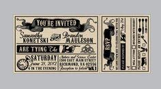 victorian train ticket | Vintage - Antique Victorian Banner Ticket Wedding Invitation set with ...