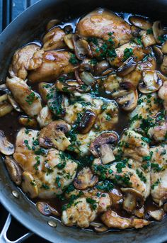 Chicken Marsala - added some cream  and marinated the chicken in balsamic vinegar, garlic, etc.