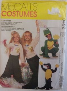 McCall's Sewing Pattern 9492 Frog Alligator Mermaid Costumes Size Adult Small #McCalls