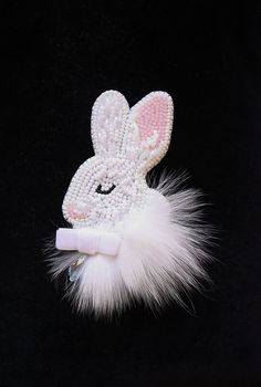 brooch handmade beaded, beadwork embroidery rabbit, bunny, beautiful jewelry, brooch unique designer jewelry, gift ideas, for her