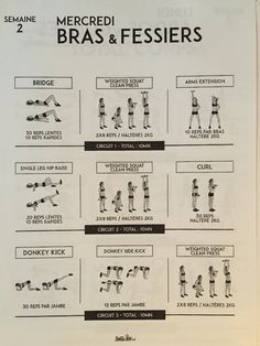 Semaine 2 - mercredi sport sport body, body challenge et workout challenge. Tbc Challenge, Workout Challenge, Week Workout, Planning Sport, Single Leg Hip Raise, Weighted Squats, Clean And Press, Sport Body, Boxing