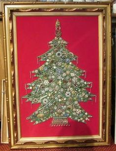 Vintage Jewelry Christmas-tree Picture | Framed Lighted Christmas Tree Made with Vintage Jewelry | eBay