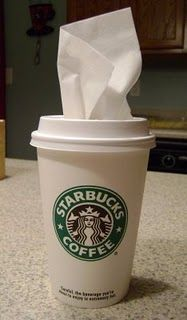 tissue holder for car this is super cute an you could paint the cup for a more custom or cute look!