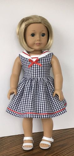 18 doll navy and white gingham dress with white collar