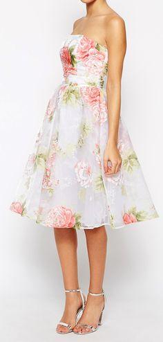 Rose Organza Swing Dress