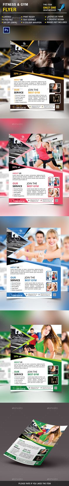 #Fitness & #Gym #Flyer - Sports #Events Download here: https://graphicriver.net/item/fitness-gym-flyer/14326246?ref=alena994