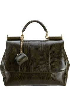 Dolce & Gabbana Python Miss Sicily    Let the lady-like top handle bag stand out in exotic forest green skin.    $3,975; barneys.com