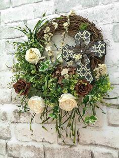 Wreath, Cross Wreath, Silk Floral Wreath, Front Door Wreath, Grapevine Wreath, Wedding Wreath, Summer Wreath for Door, Spring Wreath, Summer Décor, Spring Decor, Door Decoration, Outdoor Wreath, Wreath on Etsy, by Adorabella Wreaths!