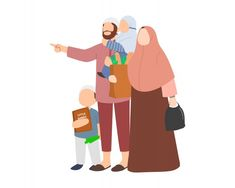 Cartoon Man, Cartoon Icons, Cartoon Drawings, Muslim Family, Muslim Couples, Mother Son, Father, Eid Mubarak Stickers, Meaningful Pictures