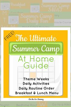 SUMMER CAMP AT HOME- FREE PRINTABLE BOOKLET for day by day ideas this summer! Easy to do for large or busy families... Already planned out... Not extravagant ideas that make messes... Great for family time and more! • Breakfast & Lunch meal plan • Daily schedule • Daily activities • Weekly themes • PLUS all of the above put together with specifics on what to do for each theme week