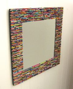 colorful square mirror wall art- made from recycled magazines blue green red purple pink yellow orange Recycled Magazine Crafts, Recycled Magazines, Upcycled Crafts, Recycled Art, Recycled Mirrors, Recycled Jewelry, Crafts To Sell, Diy And Crafts, Sell Diy