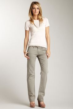 Tomboy Khaki pants- I'd wear flats, or sandals or toms, or sneakers instead of heels/wedges
