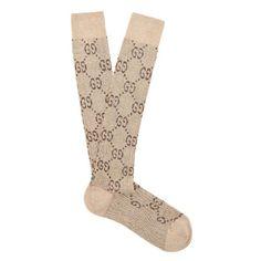 Gucci Lurex interlocking 'GG' socks ($155) ❤ liked on Polyvore featuring intimates, hosiery, socks, brown, calf length socks, mid calf socks, patterned hosiery, gucci and gucci socks