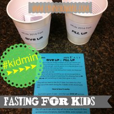 """Fasting for Kids: an Engaging Lesson and Take Home. This is the best way I've seen to help kids learn and connect with fasting. Kids get """"fasting cups"""" where they draw something to """"GIVE UP"""" and something to """"FILL UP."""" Check out the blog for more info! #kidmin"""