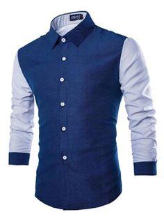 Camisa azul marino oscuro manga larga algodón camisa Casual para hombres