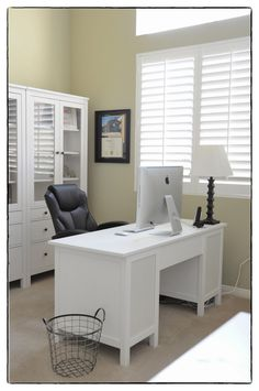 Ikeas Hemnes cabinets and office perfectness. Except the trash can would get trash... And not be cute
