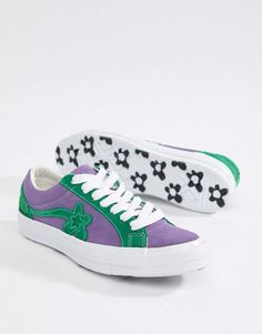 ecb4a593f26e87 Converse x Golf Le Fleur Two Tone One Star Ox Sneakers In Purple 162128C Golf  Le