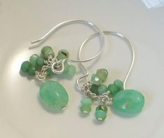 Chrysoprase Earrings Wire Wrapped Natural by StellaZigantiDesigns, $34.00