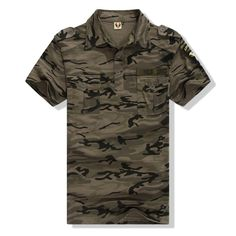 Camouflage Polo Shirt Military Mens Clothing Field Army Green Encamp Exercise Casual Cotton Tee Shirt Camo Summer Tops | An Official Army Closet Online Store