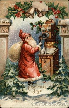 Santa with Old-Fashioned Telephone Christmas Series 46