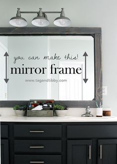 how to add a rustic mirror frame to your existing bathroom mirror. budget friend… how to add a rustic mirror frame to your existing bathroom mirror. Bathroom Mirrors Diy, Bathroom Ideas, Bathroom Makeovers, Bathroom Lighting, Restroom Ideas, Bathroom Organization, Bathroom Renovations, Shower Ideas, Bathroom Cabinets