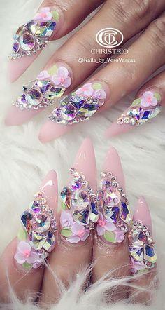 Pink rhinestone floral nails