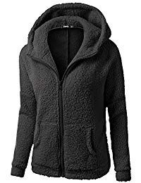 HGWXX7 Womens Warm Plus Size Vintage Hooded Long Sleeve Fleece Zipper Outwear Thick Coats