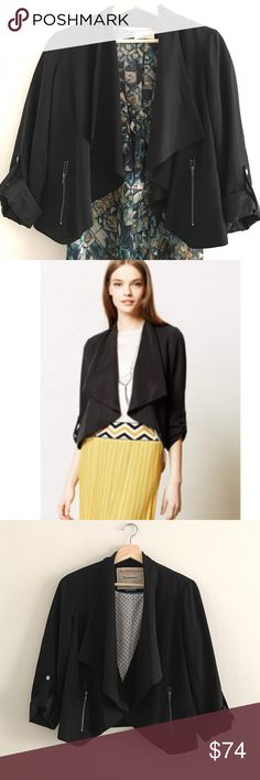 Anthropologie Black Blazer Super chic blazer with zippers by Cartonnier from Anthropologie. In great condition and can go over everything (literally, everything) to complete a look. Anthropologie Jackets & Coats Blazers