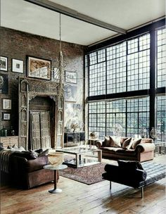 Wall of brick and wall of windows is a perfect room.