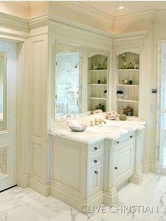 Like the shelves beside the vanity WHITE BATHROOM