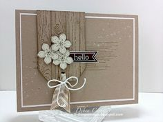 Debra's card: Hardwood, Gorgeous Grunge, Perfect Pennants, Petite Petals & its punch, Natural Chevron Ribbon. All supplies from Stampin' Up!