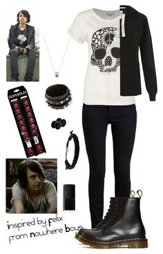"""Inspired by Felix from Nowhere Boys"" by crazydirectionergirl ❤ liked on Polyvore featuring Valentino, Proenza Schouler, Dr. Martens, St Martins, Fashionology and NARS Cosmetics"
