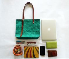 NEW ARRIVAL Green Waxed Canvas Tote - Adjustable Leather Double Strap Shoulder bag / Tote Bag / Diaper Bag